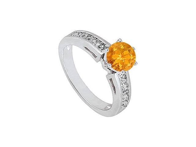 Citrine Engagement Ring with Princes Cut Diamond in 14K White Gold 1.50 Carat Total Gem Weight