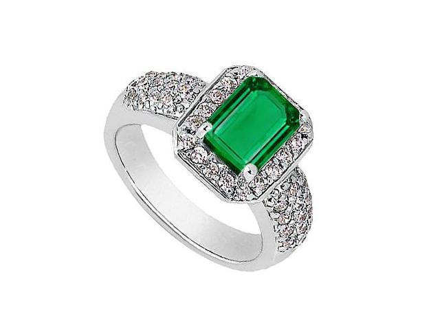 Emerald Cut Simulated Emerald and CZ Ring in White Gold 14K Total Gem Weight of 2.75 Carat