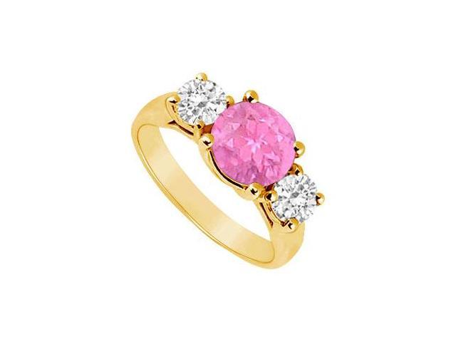 Three Stone Pink Sapphire and Diamond Ring  14K Yellow Gold - 2.00 TGW
