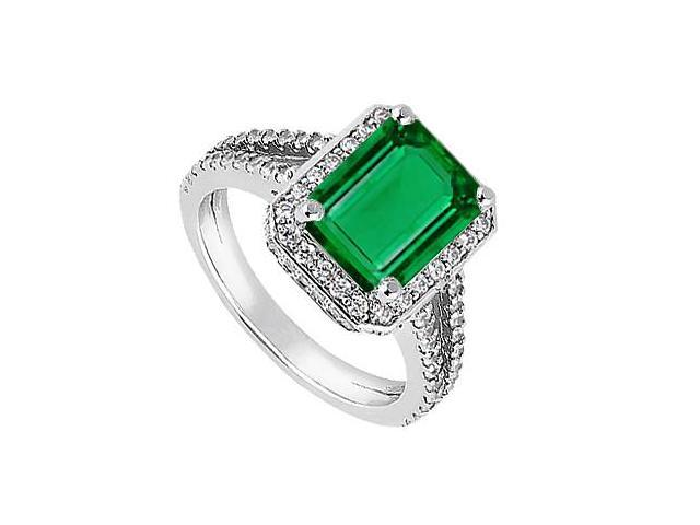 14K White Gold Cubic Zirconia and Simulated Green Emerald Ring of 2.15 Carat Total Gem Weight