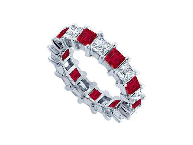 Diamond and Ruby Eternity Band  Platinum  5.00 CT TGW