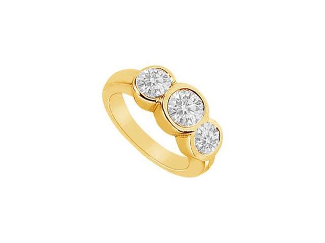 Three Stone Diamond Ring  14K Yellow Gold - 1.75 CT Diamonds