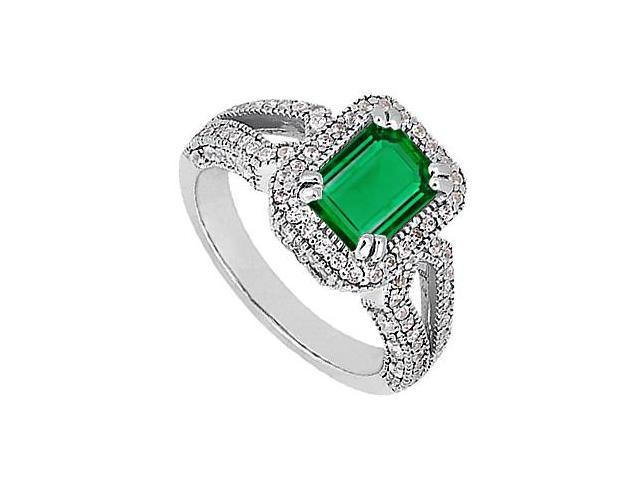 CZ and Reconstituted Green Emerald in 14K White Gold Ring with 2.10 Carat Total Gem Weight