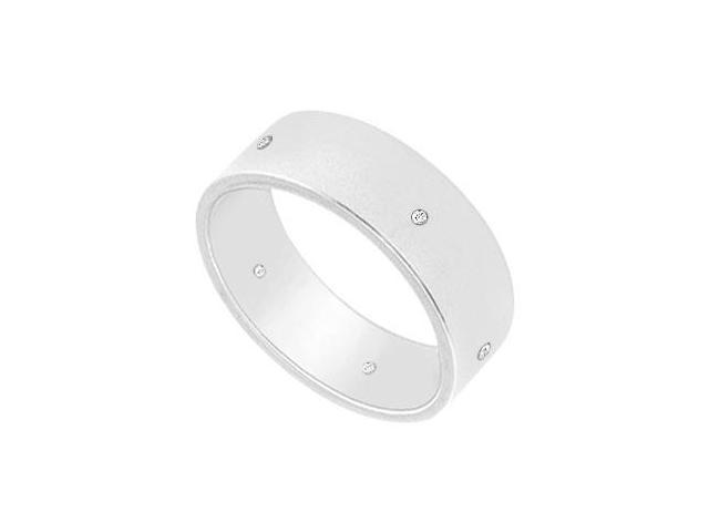 6MM Flat Wedding Band with Diamonds  14K White Gold - 0.05 CT TDW