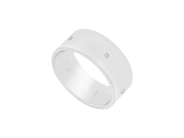 7MM Flat Wedding Band with Diamonds  14K White Gold - 0.05 CT TDW