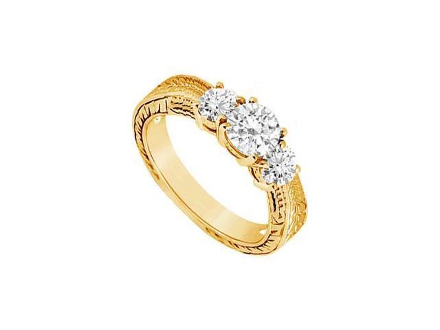 Three Stone Diamond Ring  14K Yellow Gold - 0.50 CT Diamonds