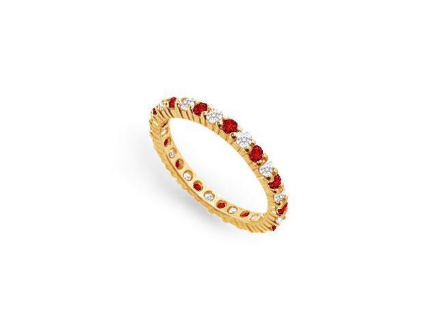 Diamond and Ruby Eternity Band  18K Yellow Gold  1.00 CT TGW