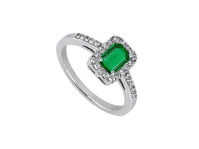 Fashion Ring Simulated Green Emerald with CZ in 14K White Gold Total gem Weight 0.80 Carat