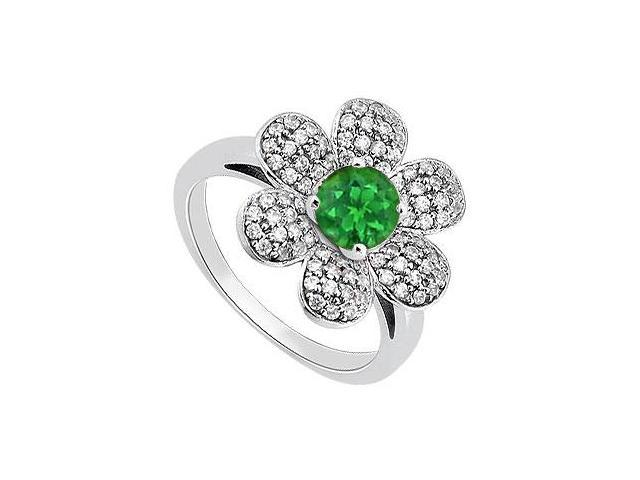 Green Emerald and Diamond Flower Fashion Ring in 14K White Gold 1.50 Carat Total Gem Weight