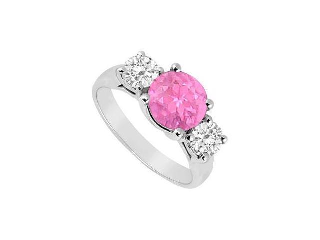 Three Stone Pink Sapphire and Diamond Ring  14K White Gold - 2.00 TGW