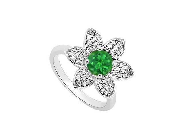14K White Gold Flower Design Green Natural Emerald and Diamond Ring 1.25 Carat Total Gem Weight