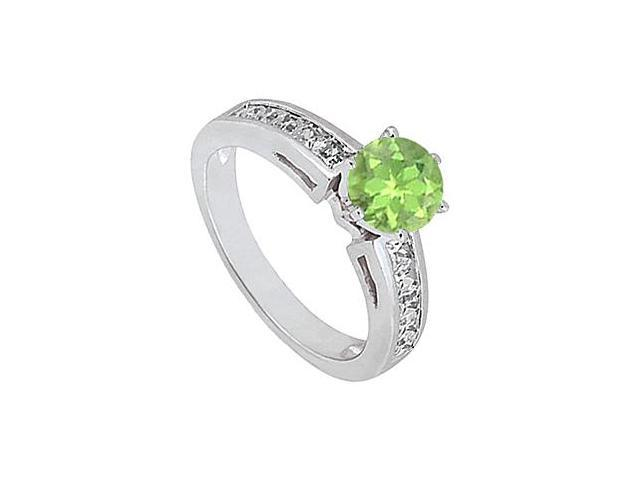 14K White Gold Peridot Engagement Ring with Diamond Princess Cut of 1.50 Carat Totaling