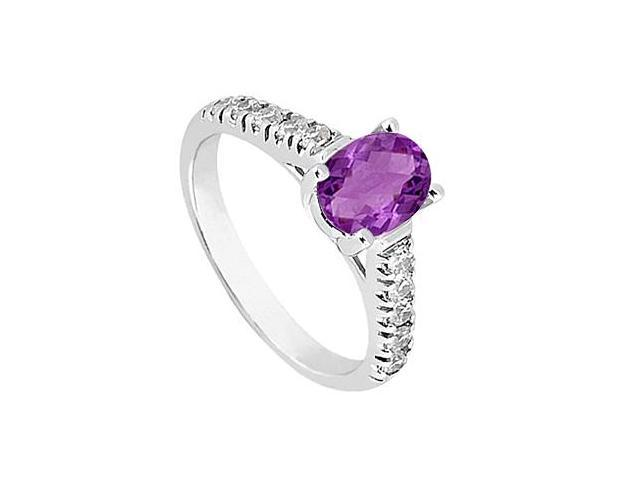Amethyst and Triple AAA Quality CZ Fashion Ring in 14K White Gold 1 Carat Total Gem Weight