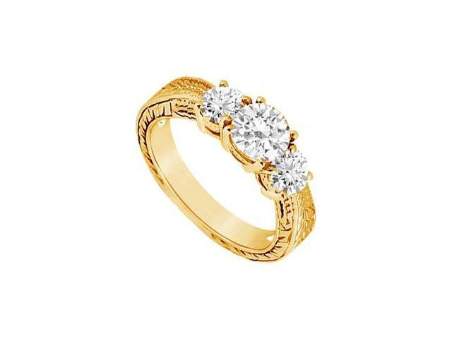 Three Stone Diamond Ring  14K Yellow Gold - 0.75 CT Diamonds