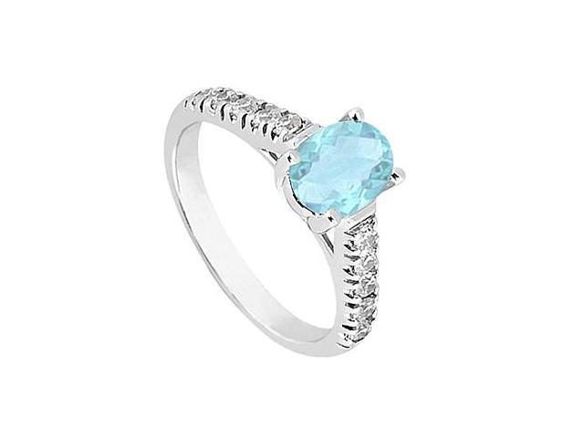 14K White Gold Fashion Ring with Aquamarine and Cubic Zirconia  One Carat Total Gem Weight