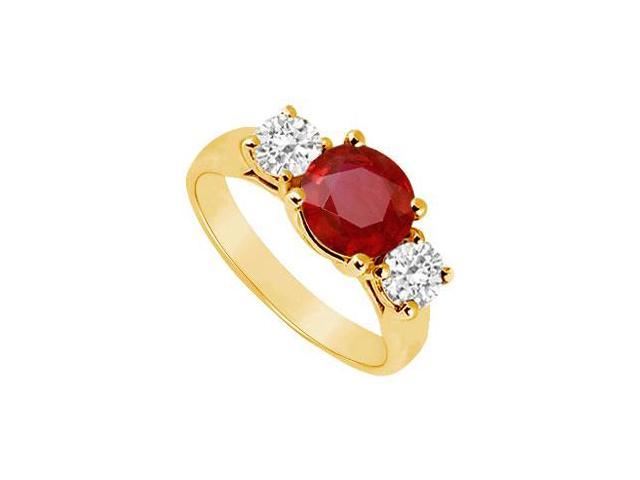 Three Stone Ruby and Diamond Ring  14K Yellow Gold - 1.75 CT TGW