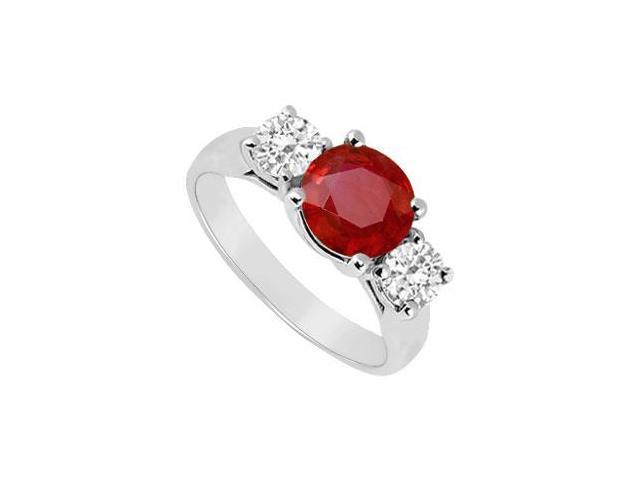 Three Stone Ruby and Diamond Ring  14K White Gold - 1.75 CT TGW