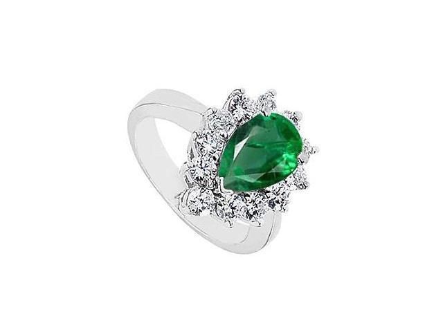 2 Carat Created Emerald Pear Shape Ring with CZ in 10K White Gold Total Gem Weight 3.20 Carat