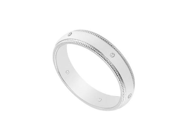 4MM Milgrain Wedding Band with Diamonds  14K White Gold - 0.05 CT TDW