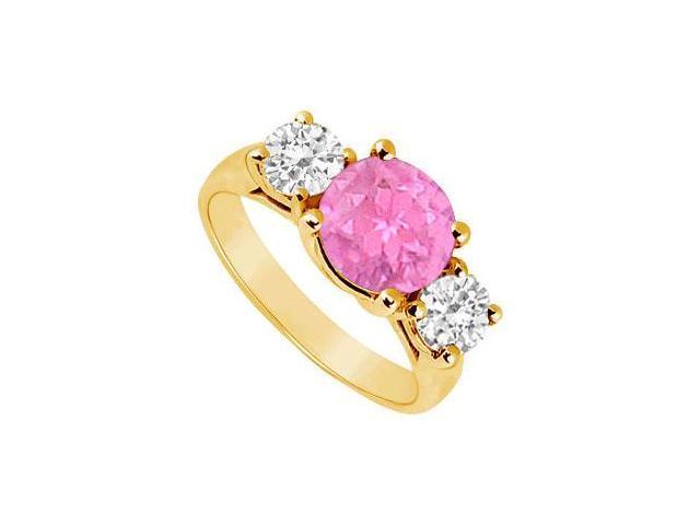 Three Stone Pink Sapphire and Diamond Ring  14K Yellow Gold - 3.00 TGW
