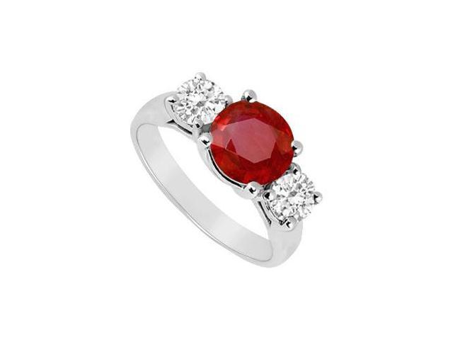 Three Stone Ruby and Diamond Ring  14K White Gold - 2.00 CT TGW