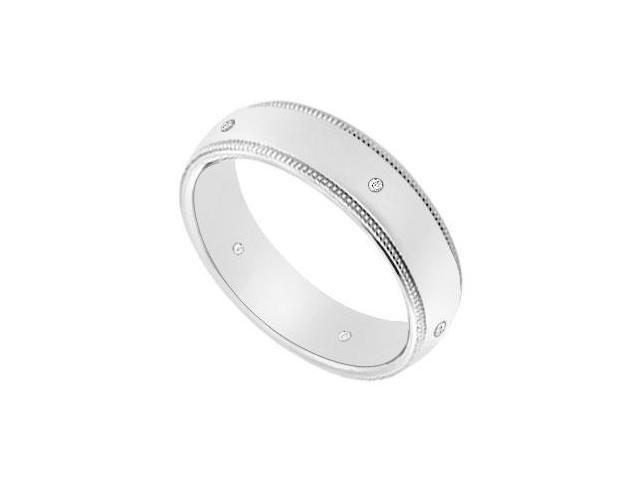 5MM Milgrain Wedding Band with Diamonds  14K White Gold - 0.05 CT TDW