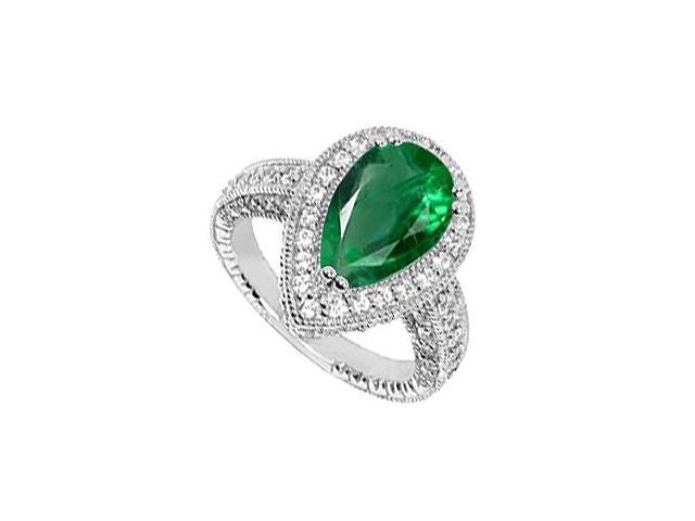 2 Carat Simulated Green Emerald Ring with CZ in 10K White Gold 3.50 Carat Total Gem Weight