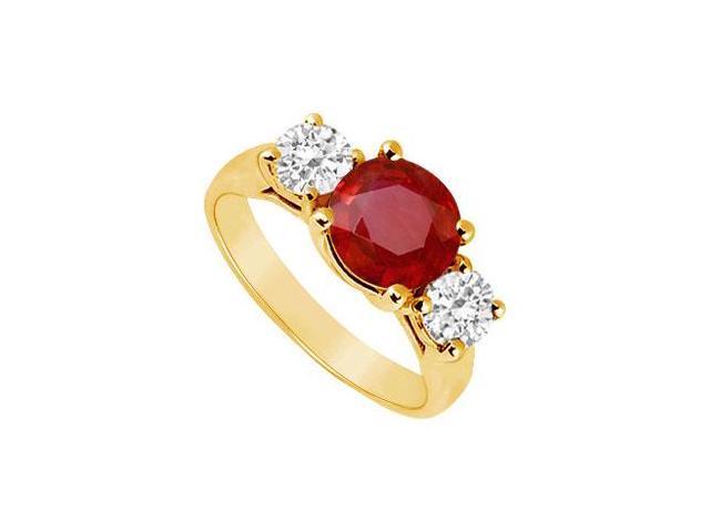 Three Stone Ruby and Diamond Ring  14K Yellow Gold - 2.00 CT TGW