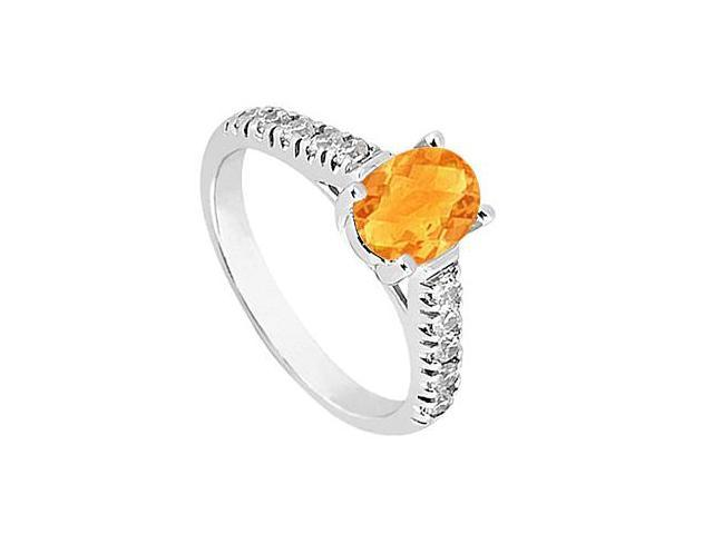One Carat Triple AAA Quality Cubic Zirconia and Citrine Fashion Ring in 14K White Gold Finish