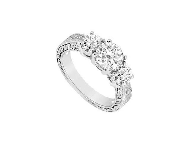 Three Stone Diamond Ring  14K White Gold - 1.25 CT Diamonds