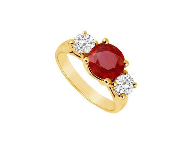 Three Stone Ruby and Diamond Ring  14K Yellow Gold - 2.50 CT TGW