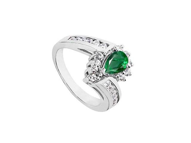 Simulated Green Emerald Pear Shape Ring with CZ in 10K White Gold 1.75 Carat Total Gem Weight
