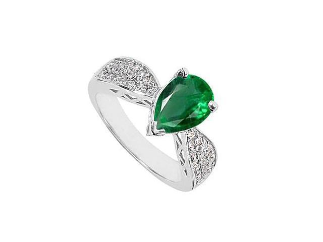 Green Emerald May Birthstone Ring with Cubic Zirconia in 10K White Gold  2.50 Carat Total Gem We