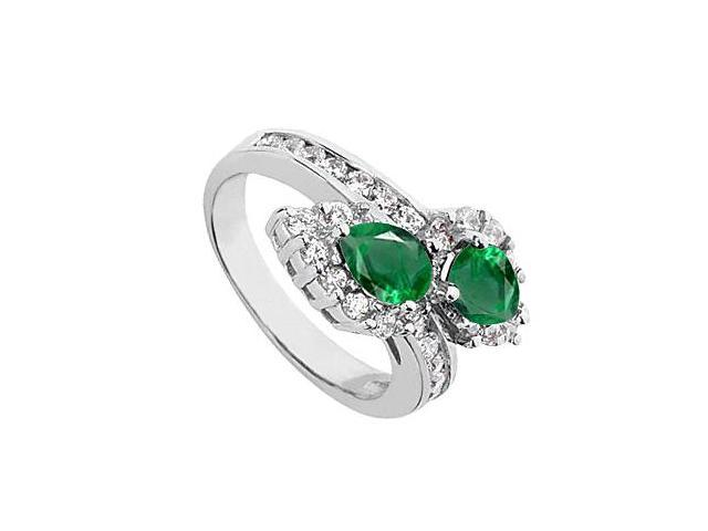 Green Emerald for May Birthstone Ring in 10K White Gold with CZ 2.50 Carat Total Gem Weight