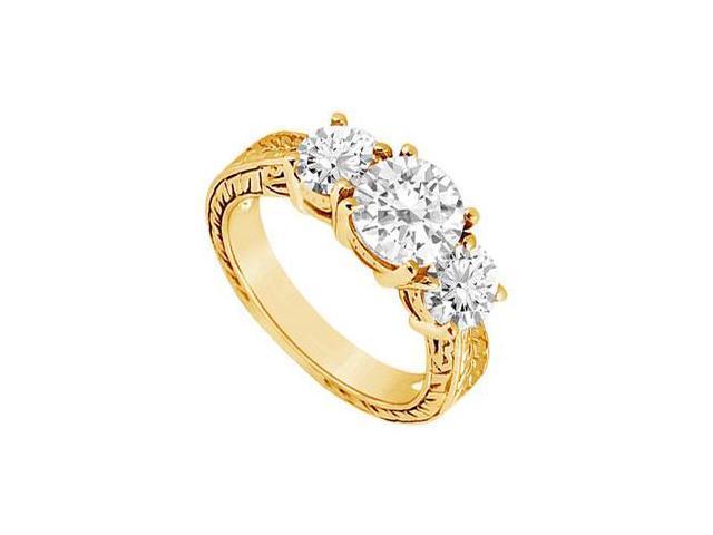 Three Stone Diamond Ring  14K Yellow Gold - 1.50 CT Diamonds