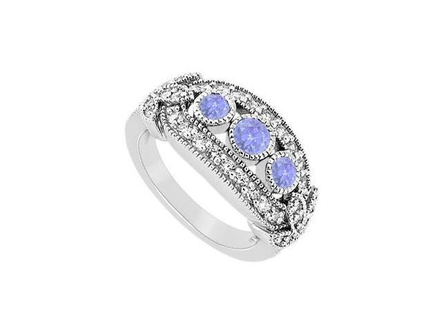 Tanzanite and Diamond Ring  14K White Gold - 1.00 CT TGW