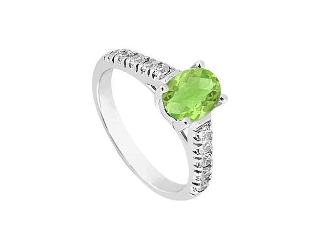 Oval Peridot Fashion Ring with Triple AAA Quality CZ Total Gem Weight of One Carat
