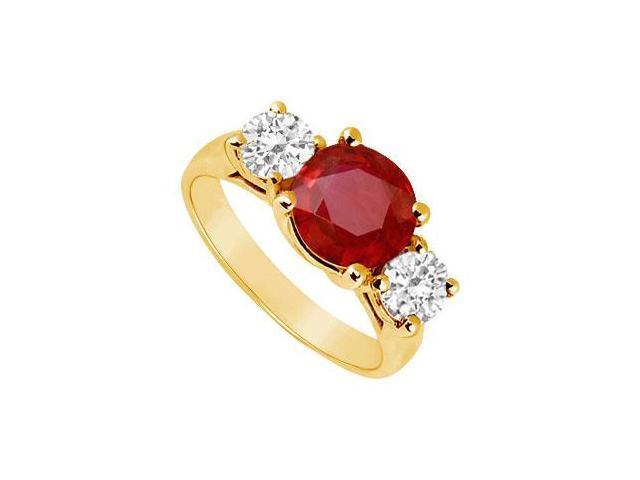 Three Stone Ruby and Diamond Ring  14K Yellow Gold - 3.00 CT TGW