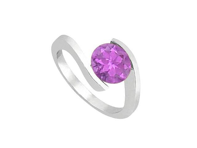 One Carat Amethyst Solitaire Ring in 14K White Gold High Polished