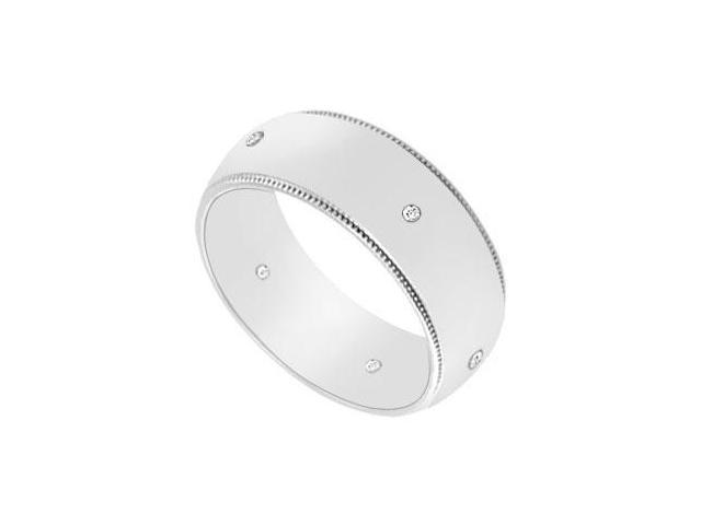 7MM Milgrain Wedding Band with Diamonds  14K White Gold - 0.05 CT TDW