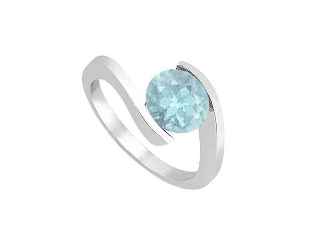 Aquamarine Solitaire Fashion Ring One Carat in 14K White Gold Finish