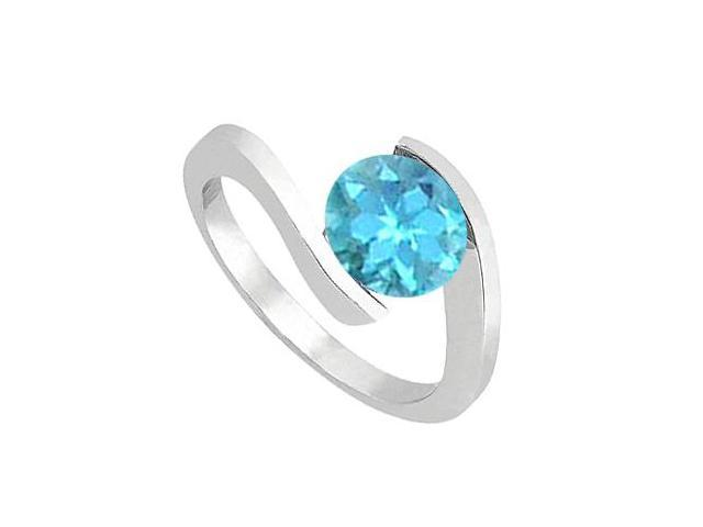 14K White Gold Blue Topaz Solitaire Ring One Carat Total Gem Weight