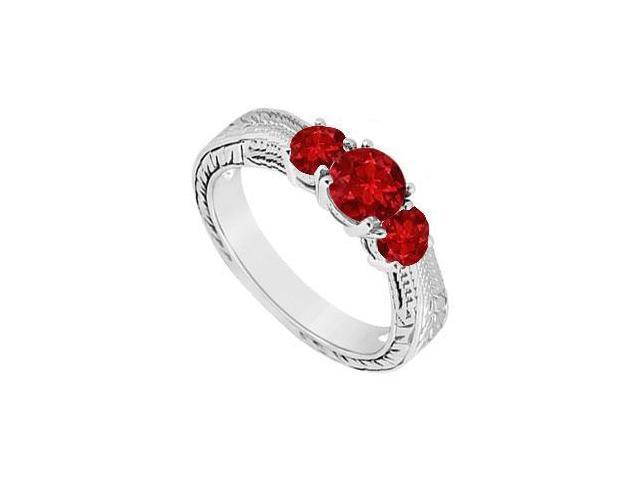 Ruby Three Stone Ring  14K White Gold - 0.33 CT TGW