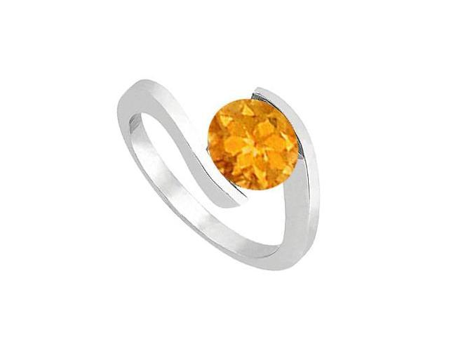 One Carat Citrine Solitaire Fashion Ring in 14K White Gold High Polish