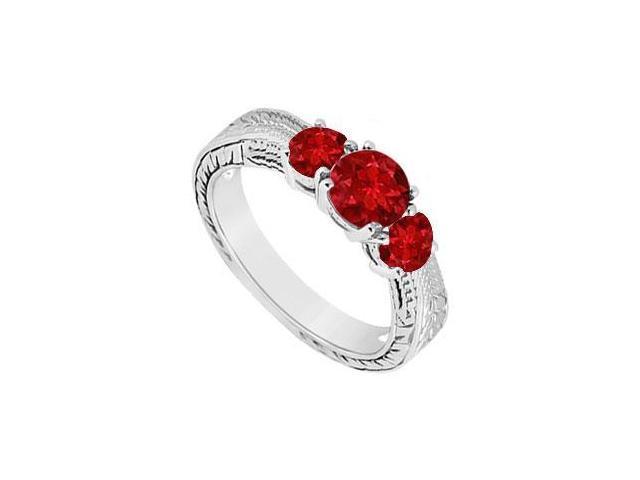 Ruby Three Stone Ring  14K White Gold - 0.50 CT TGW