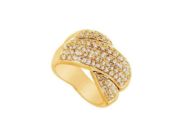 Diamond Crossover Ring  14K Yellow Gold - 2.00 CT Diamonds