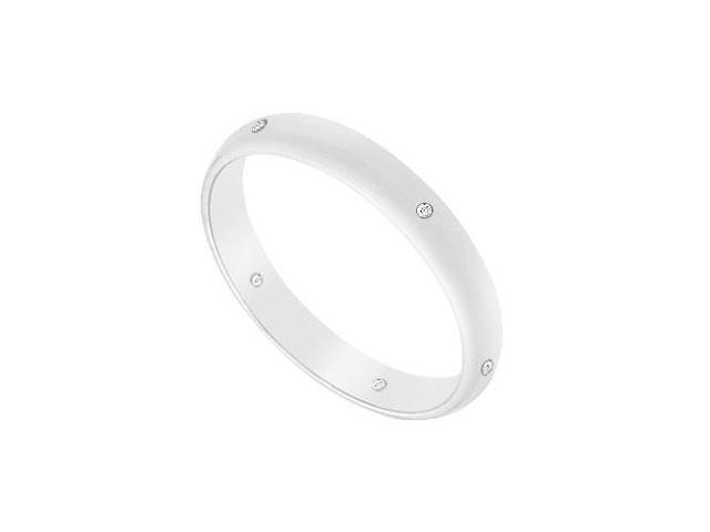 2.5MM Comfort Fit Half Round Wedding Band with Diamonds  14K White Gold - 0.05 CT TDW