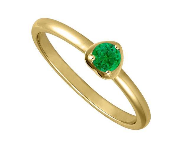 Simulated Emerald Fashion Ring in Heart Shape Yellow Gold 14K