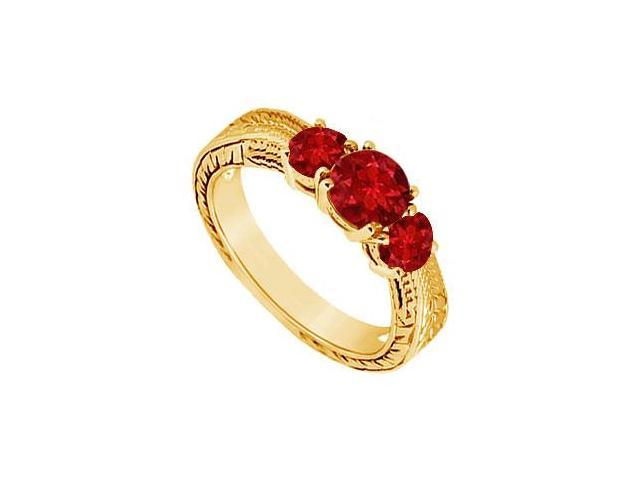 Ruby Three Stone Ring  14K Yellow Gold - 0.50 CT TGW