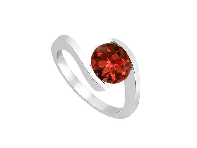 Solitaire Garnet Fashion Ring in 14K White Gold One Carat Total Gem Weight